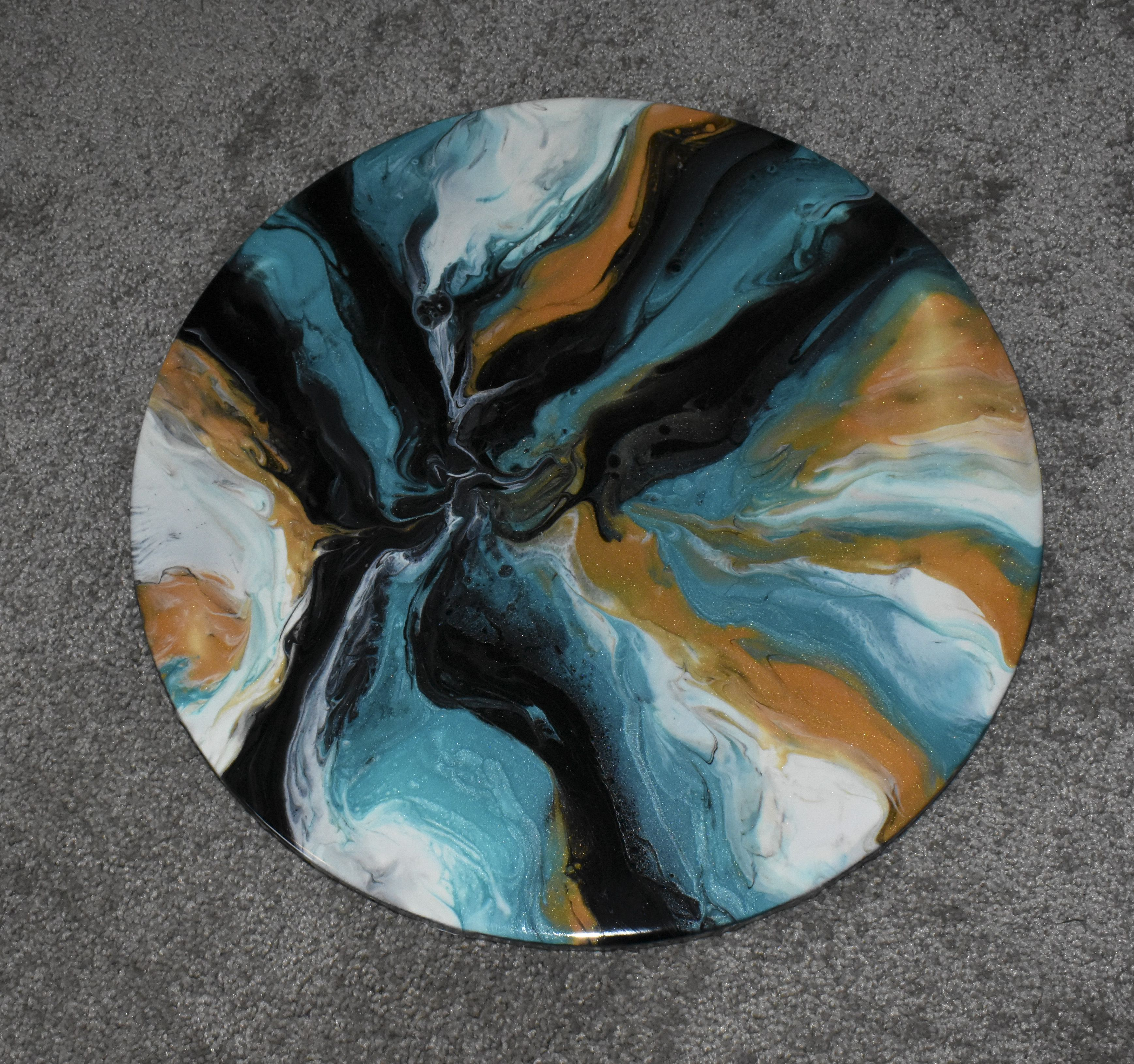16 inch round resin painting on canvas